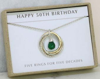 50th birthday gift, May birthstone necklace 50th, emerald necklace for 50th birthday, gift for wife, mom - Lilia