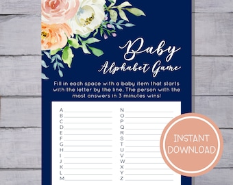 Baby Shower Alphabet (ABC) Game- Floral & Navy