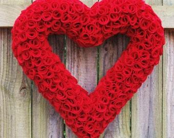 """Valentine's Day 17"""" Red Felt Heart Wreath, Wedding Wreath"""