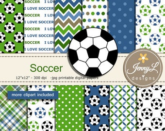 Soccer Digital Papers for Birthday, Sport, School, Scrapbooking Paper Party Theme, Planner