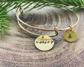 Wander Bangle, Outdoor Jewelry, Hand-stamped, Teepee, Mountains, Adventure, Explore More, Rustic, Teepee, Bangle, Bangle Bracelet