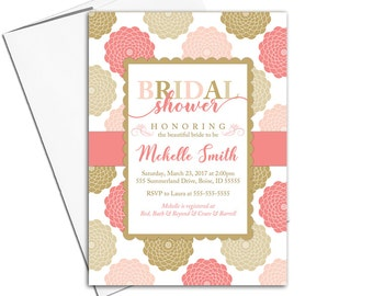 Printable Bridal shower invitations | Coral gold bridal shower evite | floral wedding shower invites | digital file or printed - WLP00656