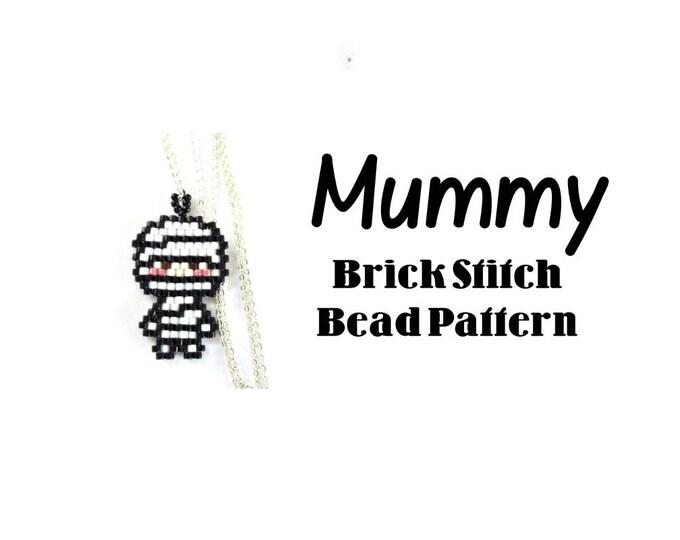 Mummy Seed Bead Pattern, Brick Stitch Bead Weaving, Halloween Beading   DIGITAL DOWNLOAD