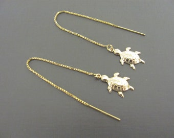 Gold Turtle Earrings, Tiny turtle chain Earrings, Gold  Threader earrings,  14K Gold Filled Earrings, simple earrings, jewelery for her
