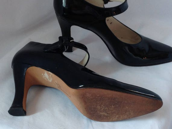 leather 3 8 patent women 5 Shoes Escarpins Janes Jane Black US size Mary Noir Mary Pumps heels Leather inches Patent CFqgnw7