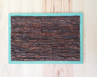 Wood wall art with bark Wood art Wooden wall art Wall art Wall hanging Abstract art Wall art with bark Modern art with color frame