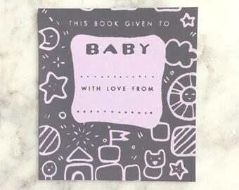 Ex Libris Hand Silkscreened Screenprinted  Bookplate Stickers (Set of 6) // Baby Shower Gift, Gender Neutral