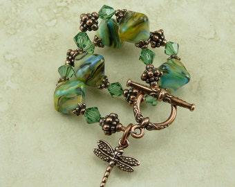 Copper Dragonfly Crystals Lampwork Bead Bracelet > Aqua Teal Green - I ship Internationally