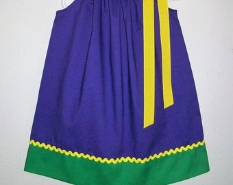 Mardi Gras Dress, Pillowcase Dress, Girls Dresses Purple Green Yellow, Mardi Gras, New Orleans, Carnival Dress baby dresses toddler dresses