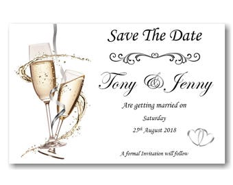 40 Personalised Save The Date Cards Ref SD2  Complete With self seal Envelopes