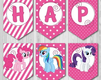 Pink Happy Birthday Printable Banner from My Little Pony. Instant Download. Ready to print. My Little Pony Cartoon Birthday Party