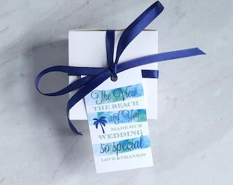 Strand Hochzeit Gunsten Tag - Kreuzfahrt Hochzeit danke - tropische Palme - nautischen Aquarell Hochzeit willkommen Tasche - 2 x 3,5-Zoll - Set von 10