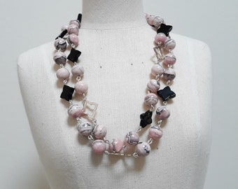 Long Rhodonite and sterling silver necklace.