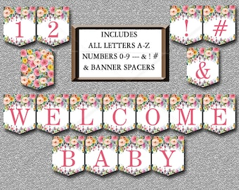 Floral Baby Shower Banner, Printable Includes ALL LETTERS A-Z, Numbers 0-9, Spacers & symbols Boho Baby shower banner Instant Download  008