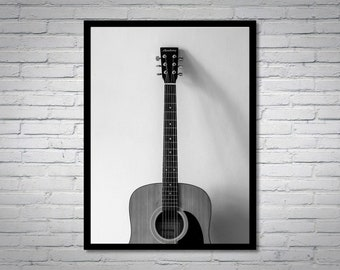 Acoustic Guitar in Black and White, digital photo, black and white, framed art, wall decoration