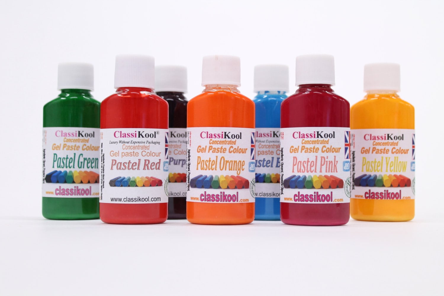 Classikool 30ml Pots of Pastel Food Colouring Paste - 7 Colour ...