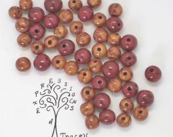 Brown round swirl mix, handmade beads, polymer clay beads