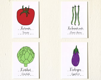 Kitchen Art Prints 'South of France Vegetables' Set of four 5x7 art prints Tomato Green Beans Artichoke Eggplant