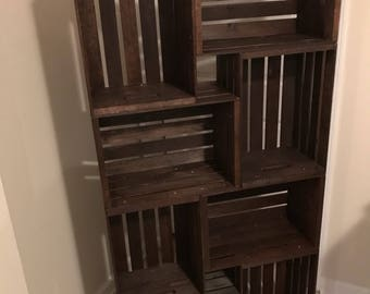 Wooden Crate Bookshelf (local only, will not ship).
