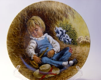 Little Boy Blue Collector Plate Second Issue in the Mother Goose Series by John McClelland , Original Box , Certificate of Authenticity