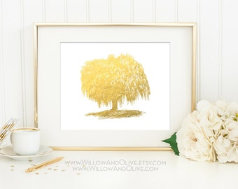 WILLOW TREE Faux Gold Foil Art Print - White & Gold - Home Decor Wall Art - Imitation Gold Leaf - Gold Tree Print - Anniversary Gift
