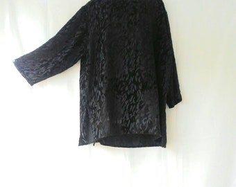 Black Velvet Burn Out Animal Print Tunic Top