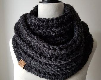 Ribbed Infinity Scarf / Infinity Cowl / Charcoal Grey Cowl / Charcoal Grey Infinity Scarf / READY TO SHIP