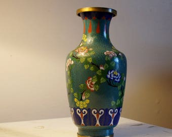 Antique Chinese Cloisonne Vase Teal Floral 1800's