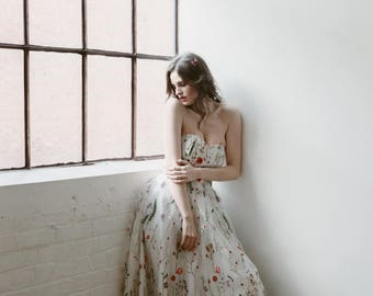 Embroidered Gown, floral wedding dress, prom dress, embroidery, white embroidered dress, boho dress, strapless, spring wedding