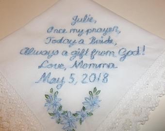 Mama, Braut, etwas Blaues, Hochzeit Taschentuch, einmal mein Gebet, Geschenk von Gott, besonderes Geschenk, Hochzeitsgeschenk, blau für die Braut, Tochter