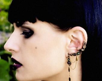 Indian Earrings - Bohemian Ear Cuff - Fake Piercing - Victorian Earcuffs - Brass Jewelry - Indian Jewelry Collection