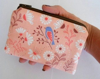 Zipper Coin Purse Birds Zipper Pouch Little Coin Purse ECO Friendly Padded NEW Blue bird on Peach