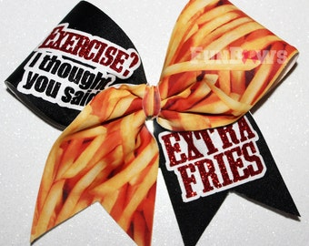 Exercise ? I thought you said EXTRA Fries ! Allstar Cheer Bow by FunBows !
