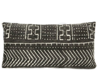 BLACK TRIBAL // Geometric Mali Pillow