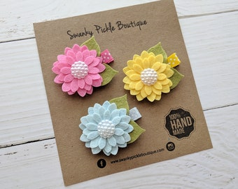 Daisy Hair Clips,Felt Flower Clips,Shocking Pink Yellow Blue,Baby Hair Clips,Toddler Girls Hair Clips,Clips for Fine Hair,Hair Clip Set