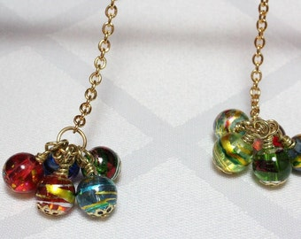 Multicolor Glass Long Dangle Earrings, New Years Eve