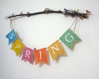 Colorful Spring Burlap Banner - Spring Burlap Banner
