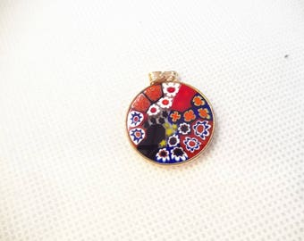 Venetian Millefiori Pendant, Gold Colored Marked 925, Round and Sterling Bail and Frame