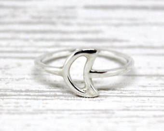 The Crescent Moon: Solid Sterling Silver Handmade Ring