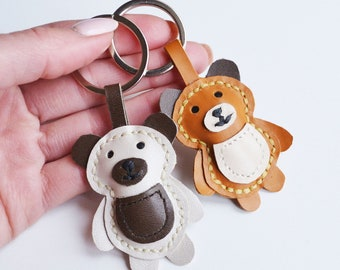 Bear Leather  Keychain animal  Key Ring Lamb cowhide Handmade Leather  Bag Charm Big Black 3D  JW gift