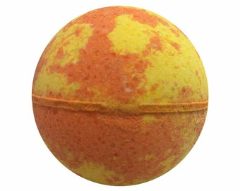 Mango Papaya Bath Bomb, Bath Fizzy, Handmade Spa Product, Epsom Salts, Hydrating Coconut Oil, Sensitive Skin, Great Gift for Her