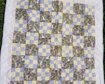 Bunnies in the Grass Quilt perfect for Easter and springtime