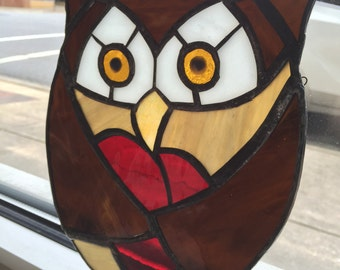 Owl with Heart Stained Glass Sun Catcher