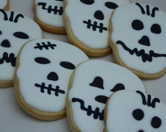 Skull Sugar Cookies, Halloween Skull Sugar Cookies