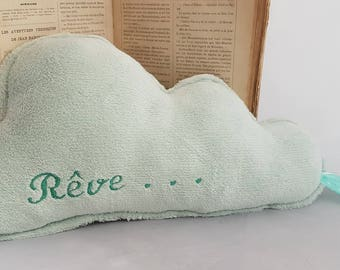 """Large green water fleece cloud pillow flannel flannel embroidered """"dream"""""""