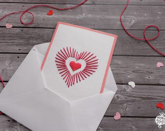 Love card - Mother's Day - Origami heart with embroidery - Red
