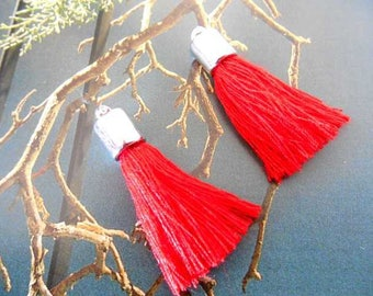 Bobbles x 2 red and silver charms pendants