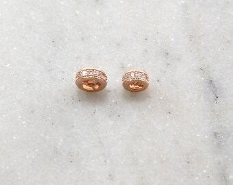 8mm or 6mm Pave Cubic Zirconia CZ Rose Gold Rhodium Plated Spacer Flat Rondelle Bead Jewelry Making Supplies