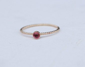 14 K  Gold stackable Ring with Tourmaline