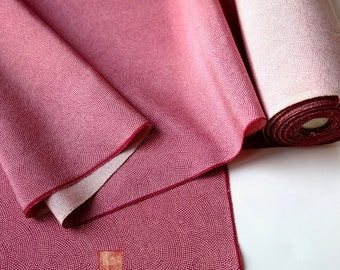 Magenta Pink Silk Kimono Fabric unused bolt by the yard Same Komon Shark Skin Seigaiha wave pattern fine tiny dots 100% silk OFF the bolt